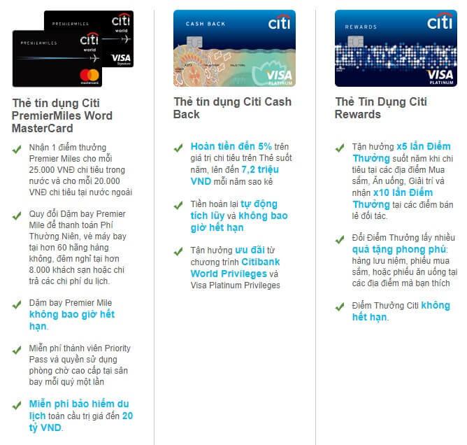 Quyền lợi các dòng thẻ tín dụng Citibank