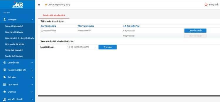 Trang quản lý tài khoản ngân hàng MBBank qua Internet
