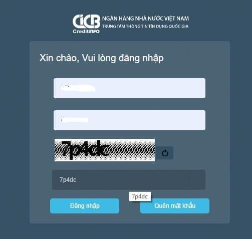 Bước 2: Đăng nhập tài khoản CIC