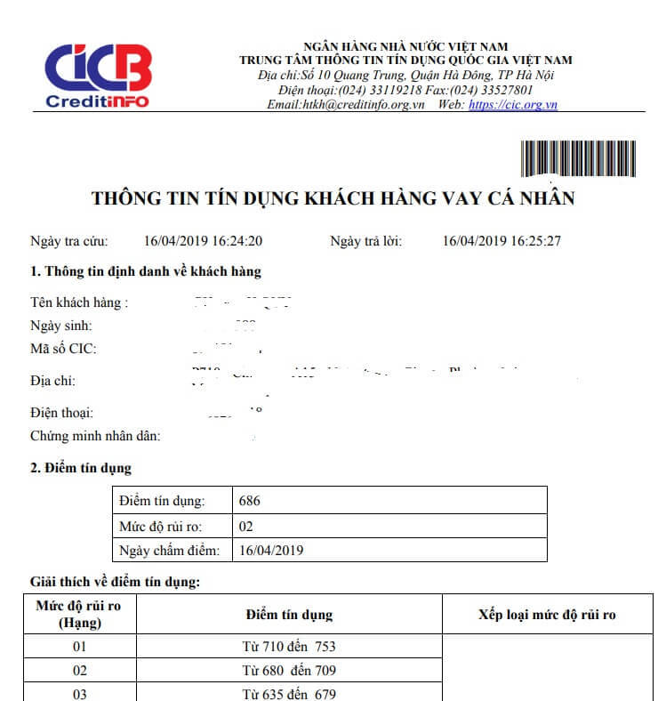 Kết quả kiểm tra CIC cá nhân online trên CIC