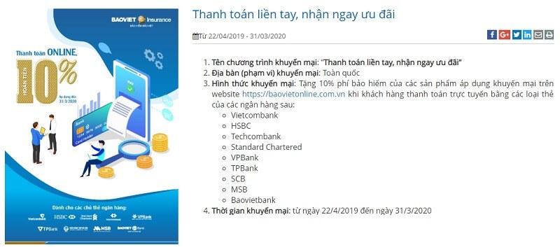 Hoàn phí bảo hiểm Bảo Việt 10% khi thanh toán online