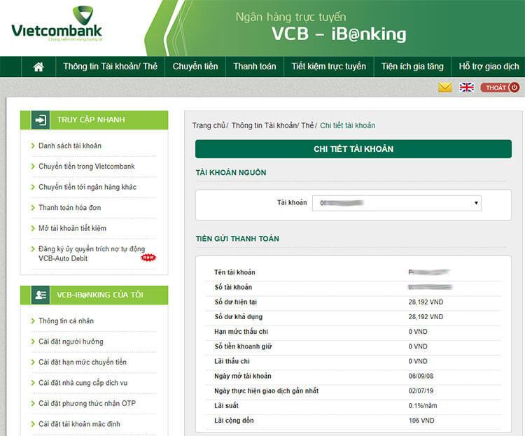 Cách kiểm tra tiền trong thẻ ATM qua internet banking của Vietcombank