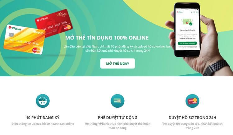 Mở thẻ tín dụng VPBank online dễ dàng