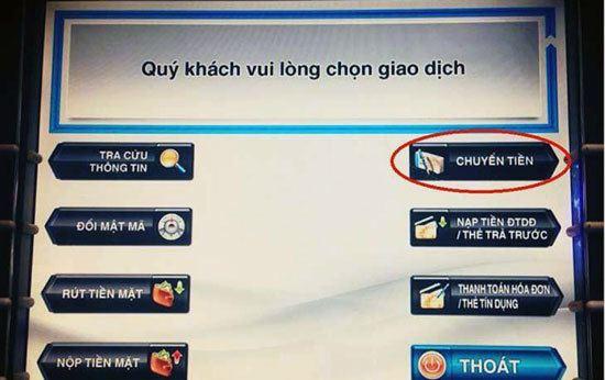 Cách chuyển tiền qua máy ATM