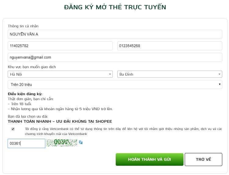 Đơn đăng ký làm thẻ ATM Online Vietcombank