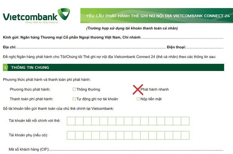 Mục đăng ký làm thẻ nhanh Vietcombank