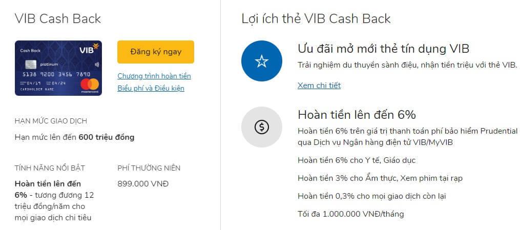 Thẻ tín dụng hoàn tiền VIB Cashback có mức hoàn tiền rất tốt
