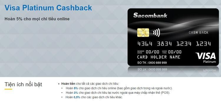 Thẻ tín dụng Sacombank Platinum Cashback