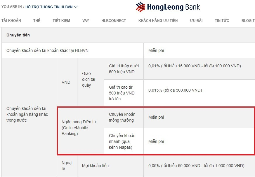 Hong Leong Bank miễn phí dịch vụ tài khoản thanh toán và chuyển tiền