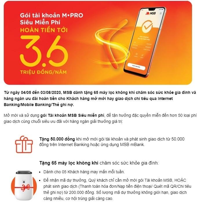MSB khuyến mãi cực lớn cho khách hàng mở tài khoản M-Pro