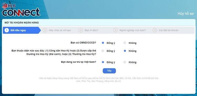 Trang đăng ký làm thẻ ATM Online Hong Leong Bank