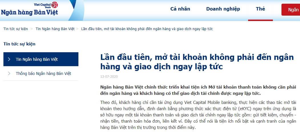 Ngân hàng Bản Việt hỗ trợ mở tài khoản trực tuyến dễ dàng