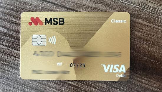 Thẻ ATM MSB Visa Debit miễn phí mở online