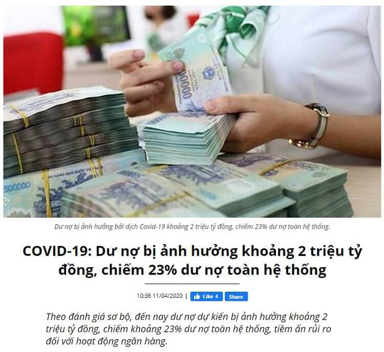 Khoảng 2 triệu tỷ dư nợ bị ảnh hưởng bởi Covid