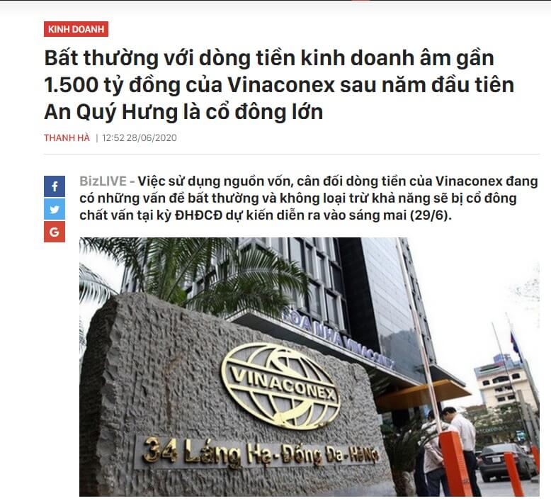 VGC âm dòng tiền kinh doanh sau khi An Quý Hưng trở thành cổ đông lớn