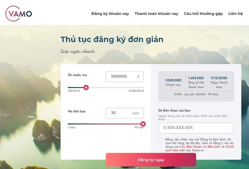 Dịch vụ vay tiền trực tuyến Vamo - Vay mượn cực dễ