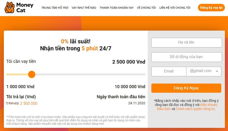 MoneyCat - Vay tiền online dễ dàng đơn giản