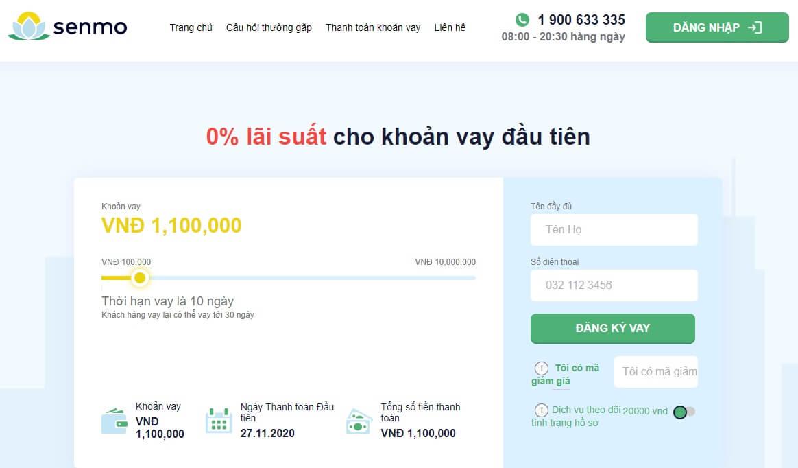 Dịch vụ vay tiền Senmo: App vay siêu mới