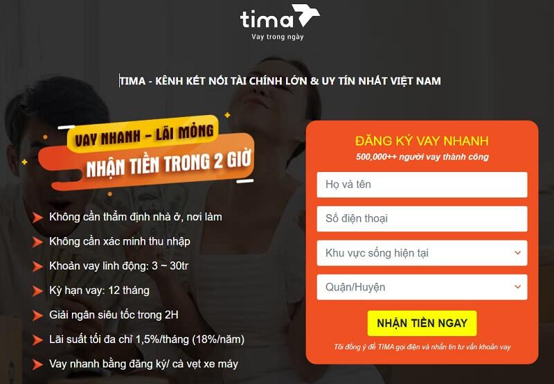 Vay tiền Tima theo đăng ký xe dễ dàng