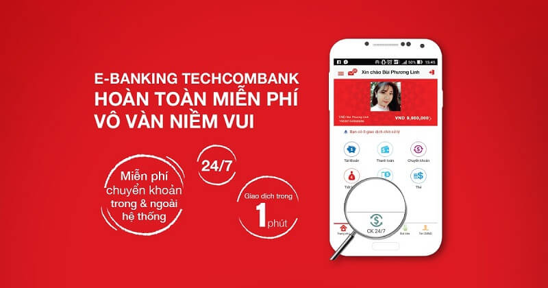 Techcombank miễn phí chuyển tiền trong và ngoài hệ thống