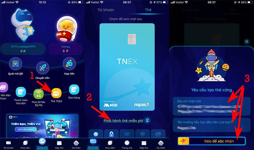 Đăng ký mở thẻ ATM TNEX MSB Online