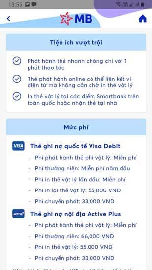 Lựa chọn dòng thẻ ATM để đăng ký trên App MBBank