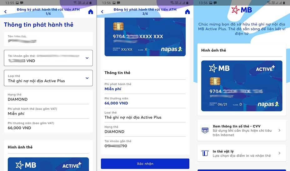 Mở thẻ ghi nợ nội địa (ATM MBBank Active Plus)