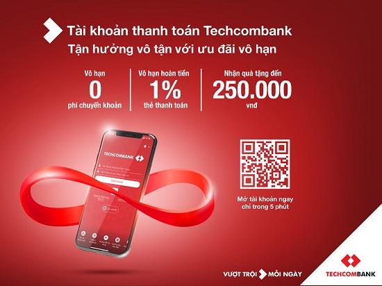Mở tài khoản Techcombank nhận quà khủng lên đến 250.000đ