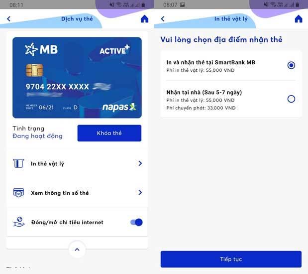 Mở thẻ ATM nhận thẻ tại nhà MBBank