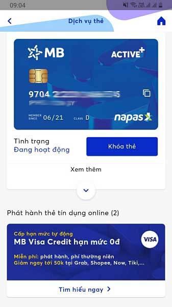 Thẻ ATM phi vật lý Active Plus trên App MBBank